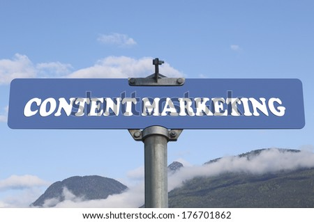 Content marketing road sign - stock photo