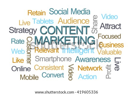 Content Marketing Word Cloud on White Background - stock photo