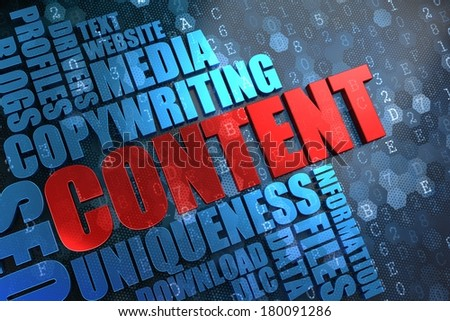 Content - Red Main Word with Blue Wordcloud on Digital Background. - stock photo