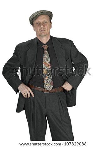 Content senior  man in a suit on white background - stock photo