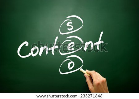 Content SEO concept, business strategy on blackboard - stock photo