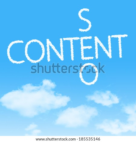 Content SEO crossword cloud icon with design on blue sky background - stock photo