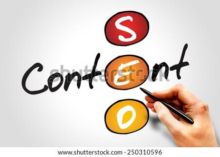 Content SEO (Search Engine Optimization) acronym, business concept - stock photo