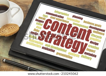 content strategy word cloud on a digital tablet with a cup of coffee - stock photo