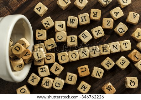 CONTENT word on wood blocks concept - stock photo