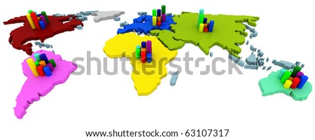 Continent chart. Isolated object on a white background. High quality render.