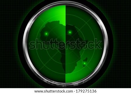 Continent of Africa on old radar screen - stock photo