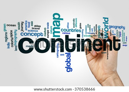 Continent word cloud - stock photo