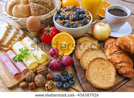 continental breakfast - food on background - stock photo