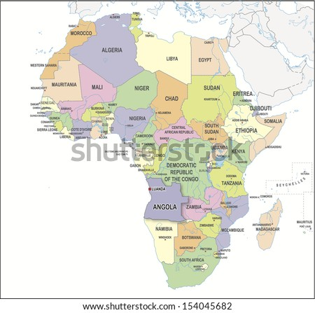 Continental Map Of Africa With A Specific Country Proposed