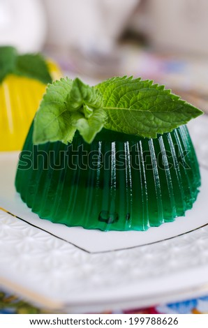 continental transparent jelly green and yellow with mint leaves