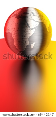continents on a brushed metal ball - stock photo