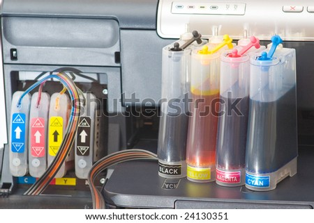 Continous ink supply system - CISS close up. - stock photo