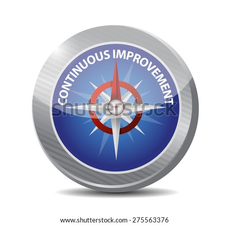 continuous improvement compass sign concept illustration design over white background - stock photo