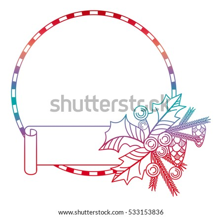 Contour Christmas round frame with paper banner, holly berry and pine cones. Copy space.Raster clip art.