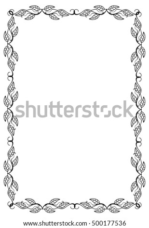 Contour floral frame with leaves. Raster clip art.