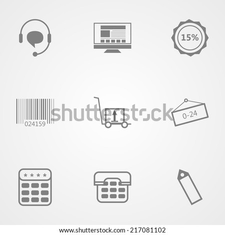 Contour icons for online store. Set of black contour icons for online store on gray background. - stock photo