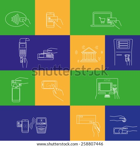 Contour icons set of payment methods such as credit card, nfc, mobile app, atm, terminal, website, bank transfer, cash and invoice - stock photo