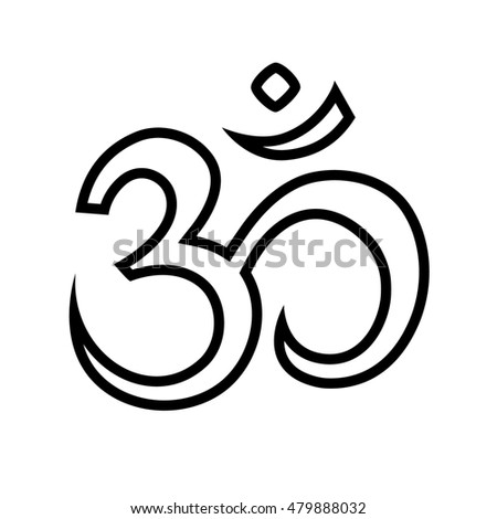 Contour Image Om Aum Sign Isolated Stock Illustration 479888032