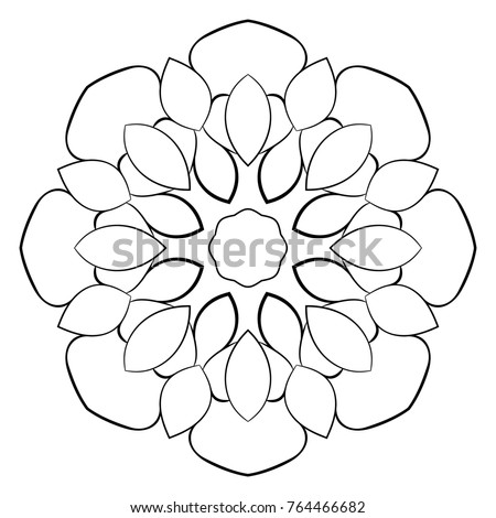 Contour Mandala Color Book Monochrome Illustration Stock ...