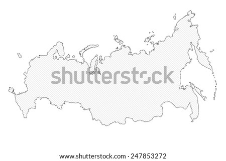 Contour map of Russia on white background - stock photo