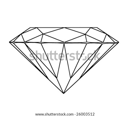 Contour of a diamond isolated on white background - stock photo