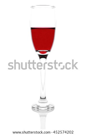 Contour of dark Shape of wine glass isolated on white background