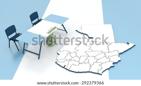"""Contour of Guatemala and the table of the electoral commission with sack for votes and label with word """"Elecciones"""" meaning """"elections"""" in Spanish language. - stock photo"""