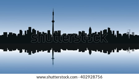Contour of the big city on a blue background - stock photo