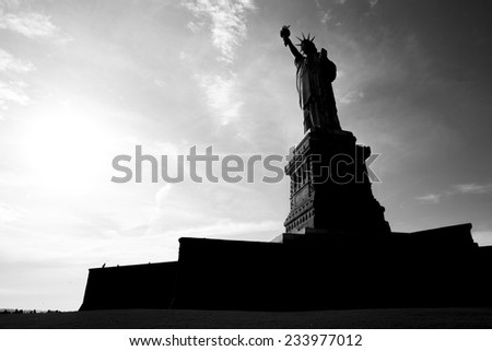 Contour of the Statue of Liberty in New York, USA. (shadow) - stock photo