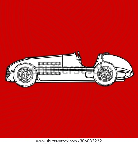 Contour retro racing car. - stock photo