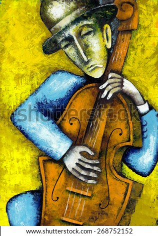 Contra bass player. Original oil painting - stock photo