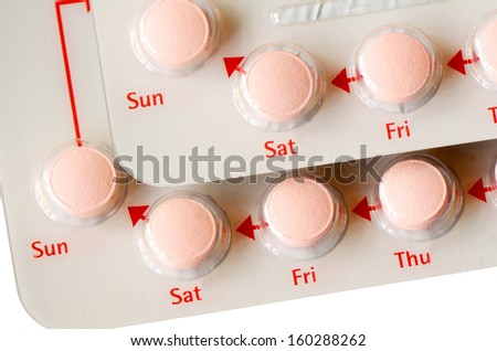 Contraceptive Pill with English Instructions.. - stock photo
