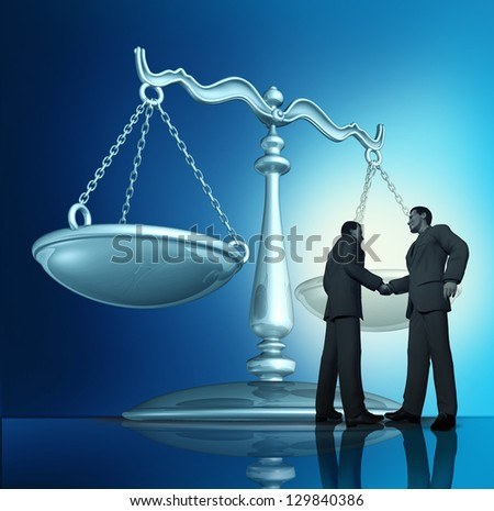 Contract agreement with a group of two businessmen shaking hands in a legal partnership with a scale of justice in the background as a concept of teamwork in business. - stock photo