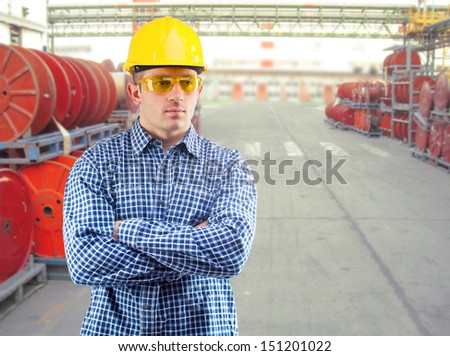 contractor at factory - stock photo