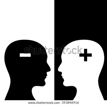 Contrast concept. Two humans profiles of white and black colors with brains in the plus and minus form. Isolated on black and white backgrounds - stock photo