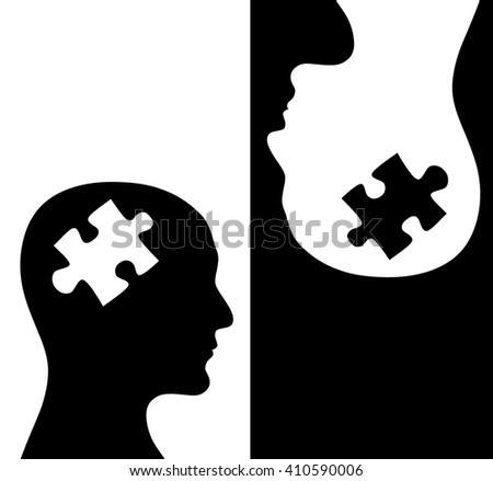 Contrast concept. Two humans profiles of white and black colors with brains in the puzzle form. Isolated on black and white backgrounds - stock photo
