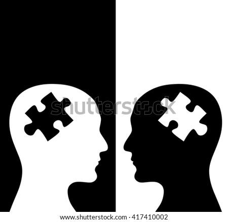 Contrast concept. Two humans profiles of white and black colors with brains in the puzzle form. Isolated on black and white backgrounds. 3d render - stock photo