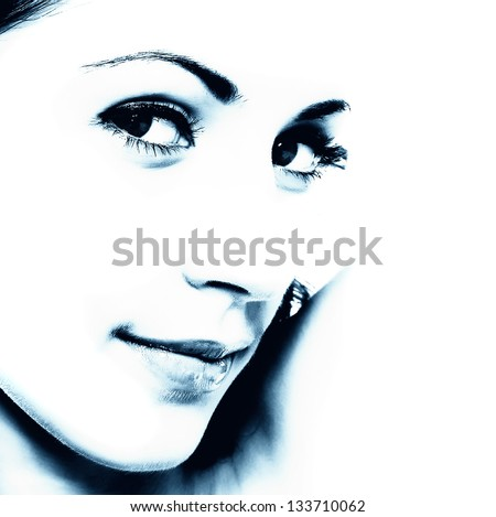 contrasting picture of woman - stock photo