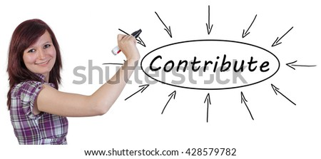 Contribute - young businesswoman drawing information concept on whiteboard.  - stock photo