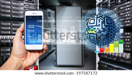 control everything from smart phone - stock photo
