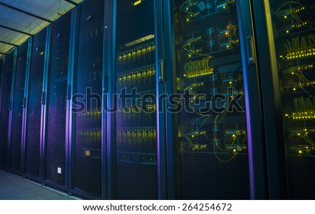 Control modules heat power. Computer servers. - stock photo