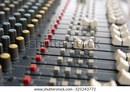 control of analog mixers� ,soft focus - stock photo