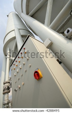 control panel and industrial equipment - stock photo