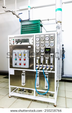 Control panel equipment on water conditioning or distillation room on pharmaceutical industry or chemical plant