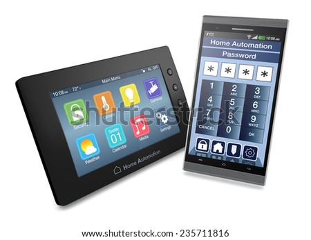 control panel for home automation system with a smartphone with an app for remote control (3d render) - stock photo