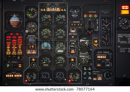 Control panel in a plane cockpit - stock photo