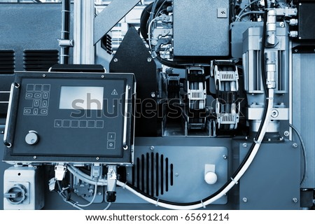 control panel of a new and modern workshop - stock photo
