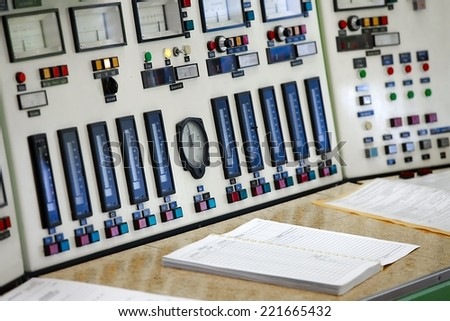 Control panel of a nuclear laboratory - stock photo