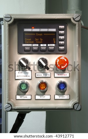 Control panel of the coil winding machine - stock photo